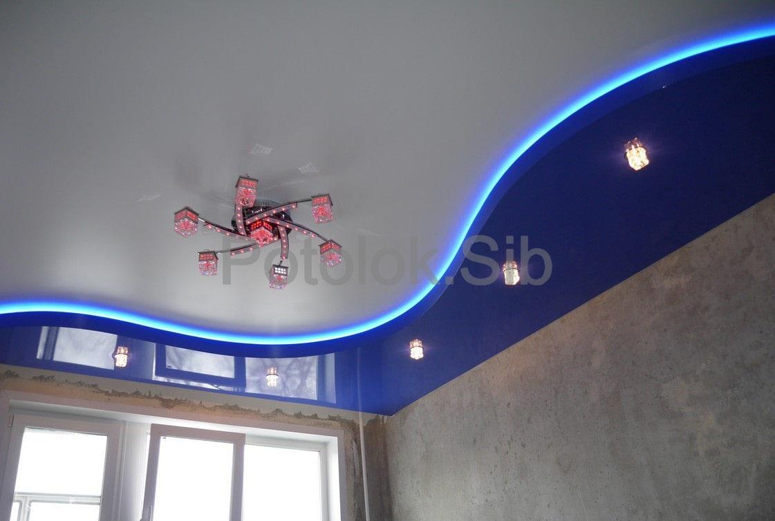 Двухуровневый натяжной потолок | Комната
